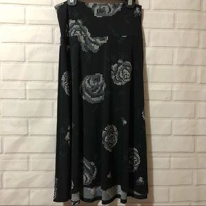 LulaRoe Black Grey Digital Roses Azure Midi Skirt